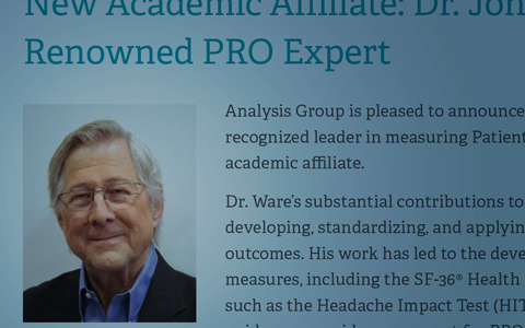 New Academic Affiliate: Dr. John E. Ware, Jr., Renowned PRO Expert
